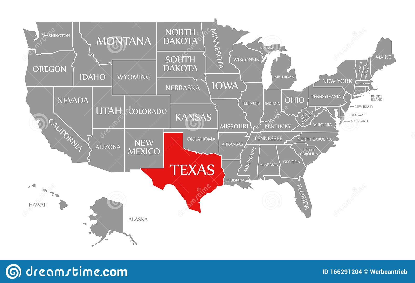 Us Map Texas Highlighted Texas Red Highlighted In Map Of The United States Of America Stock