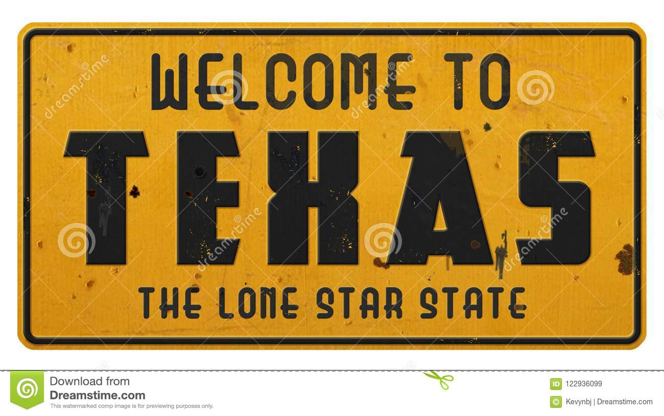 Texas Road Sign Welcome a Texas Grunge