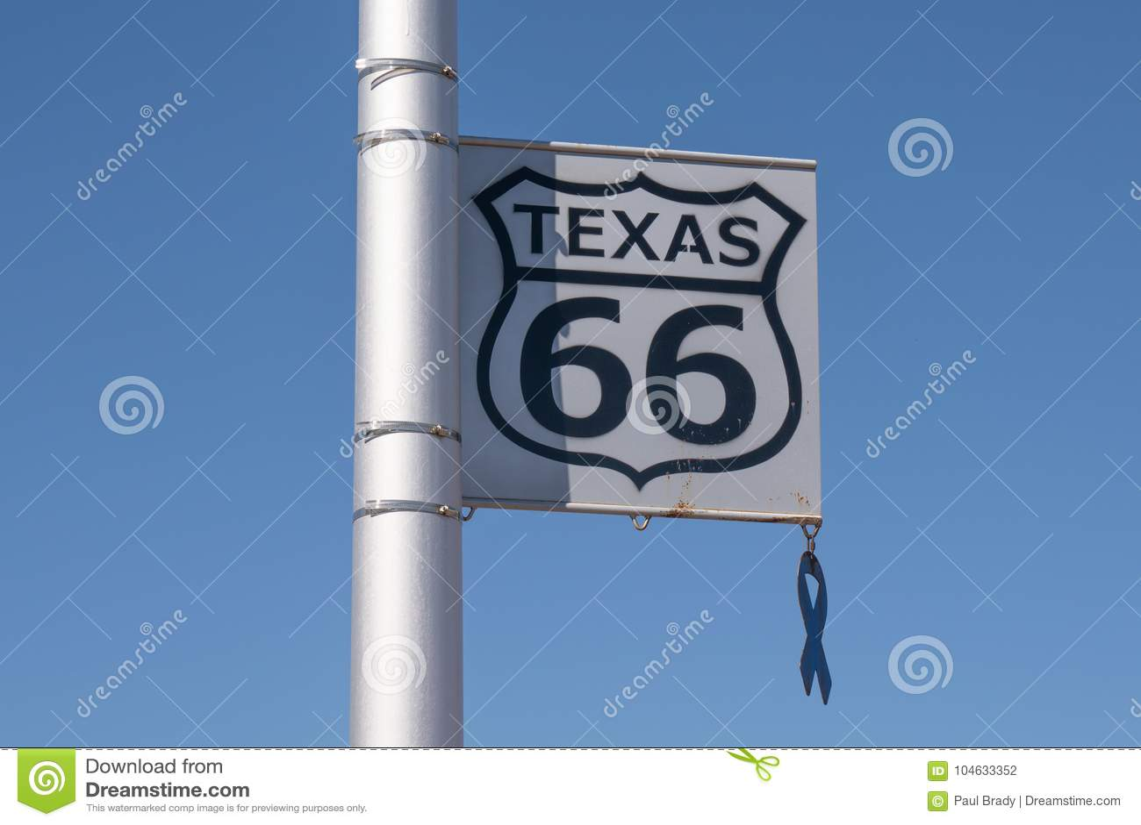 Download Texas Route 66 Teken redactionele fotografie. Afbeelding bestaande uit informatie - 104633352