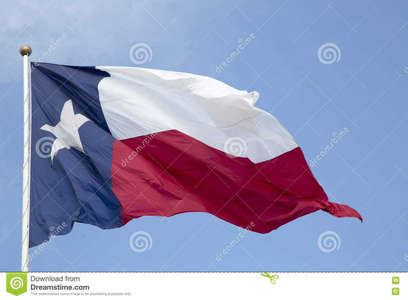 Texas state flag waving in the sky