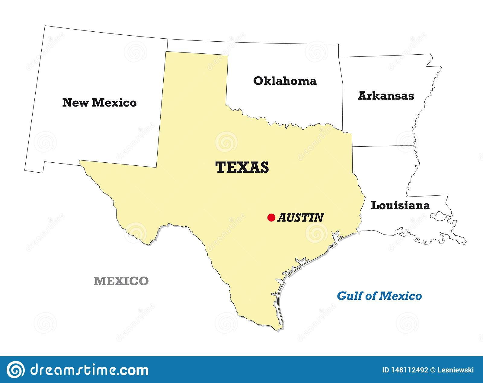 Texas State Map With Neighboring States Stock Vector