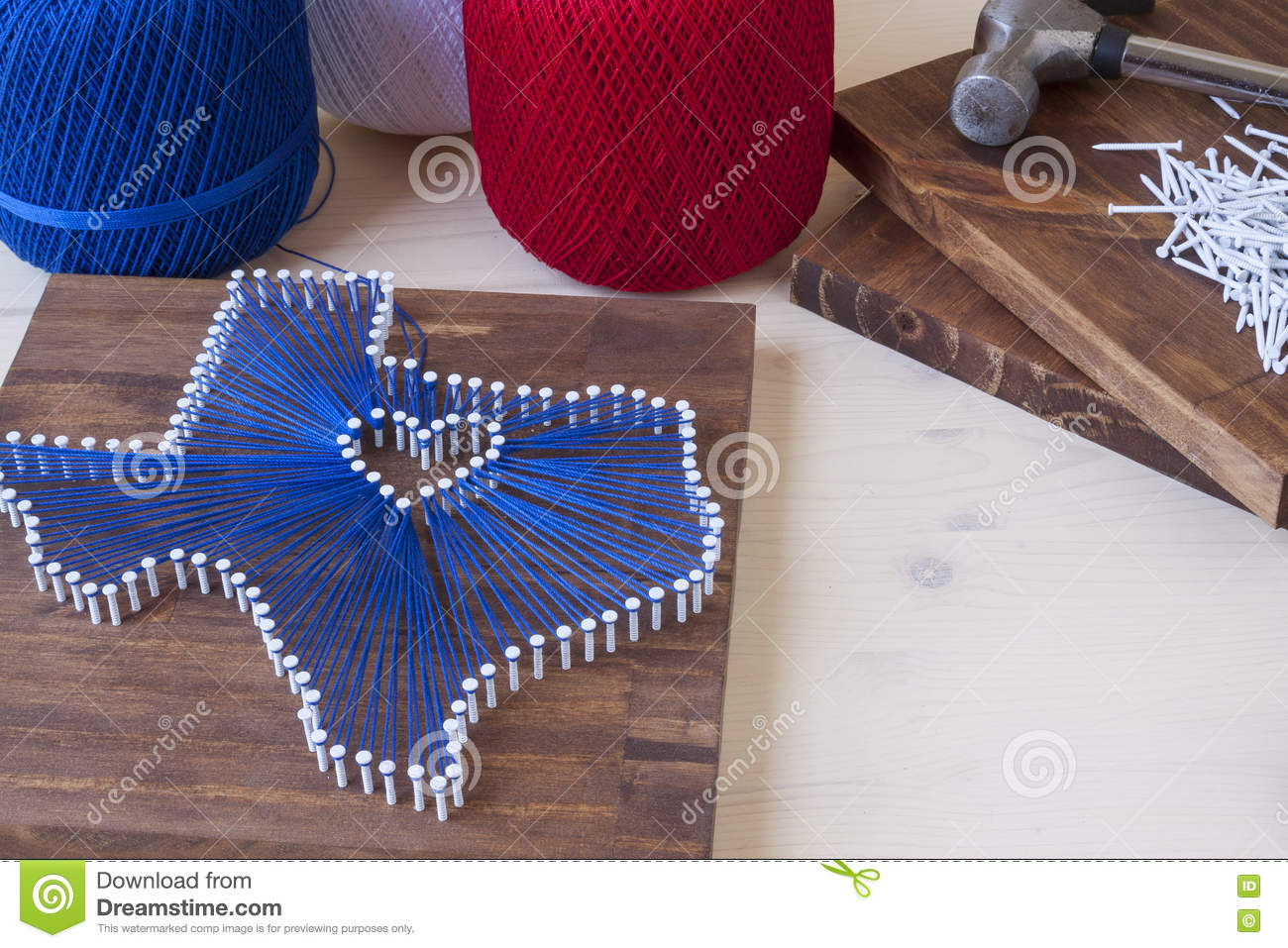 Texas State String Art Stock Image Image Of Nails Thread 75214237