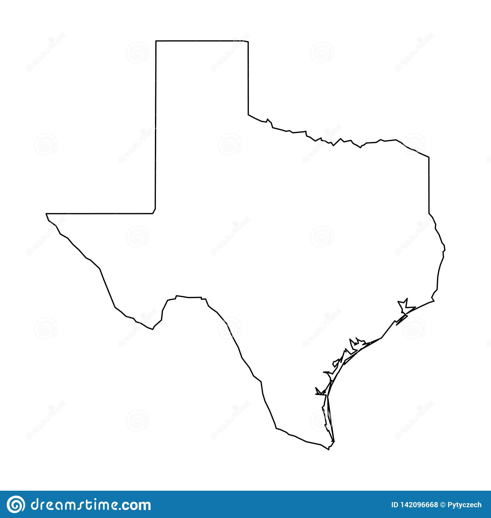 Simple Texas Map Texas, State Of USA   Solid Black Outline Map Of Country Area