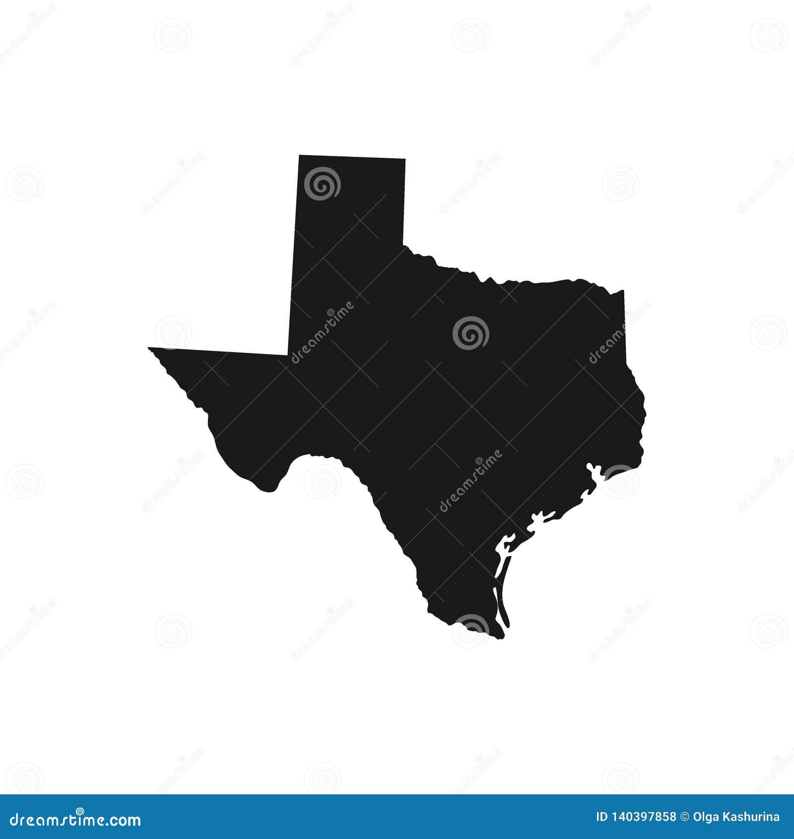 Texas tillstånd av USA - fast svart konturöversikt av landsområde