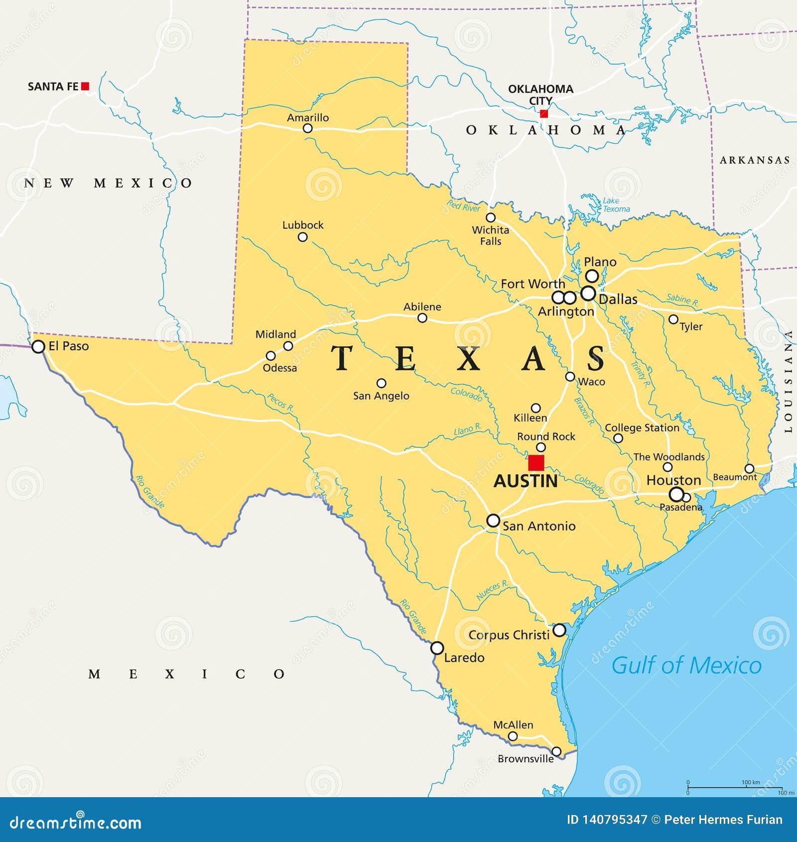 Texas Vereinigte Staaten Politische Karte Vektor Abbildung