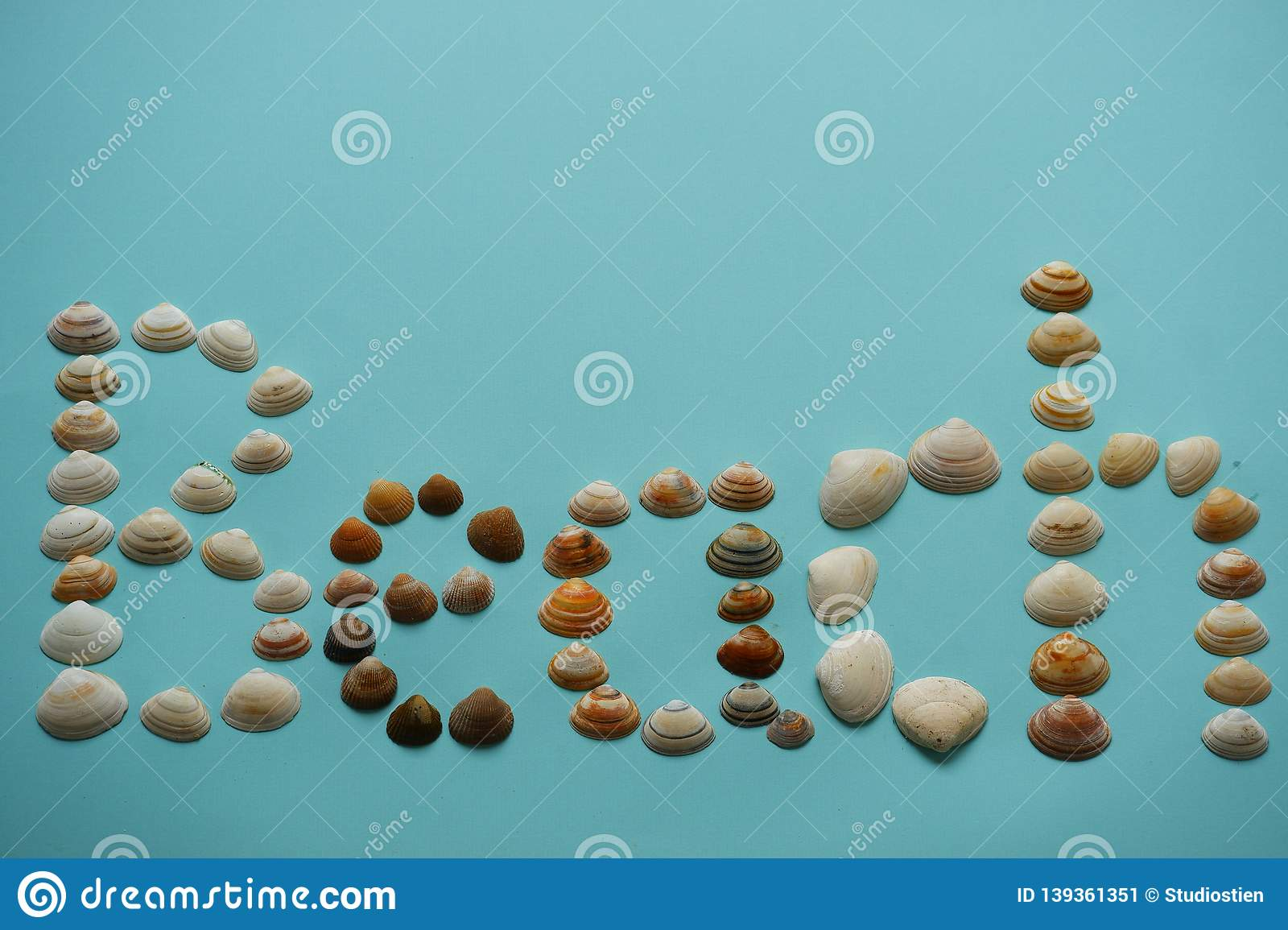 Text beach made with seashells blue background