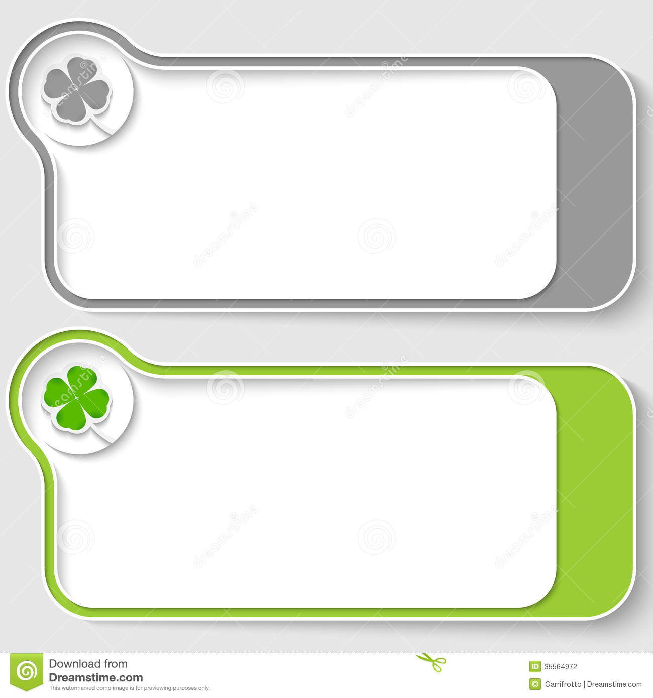 Text boxes with cloverleaf stock vector. Illustration of ...