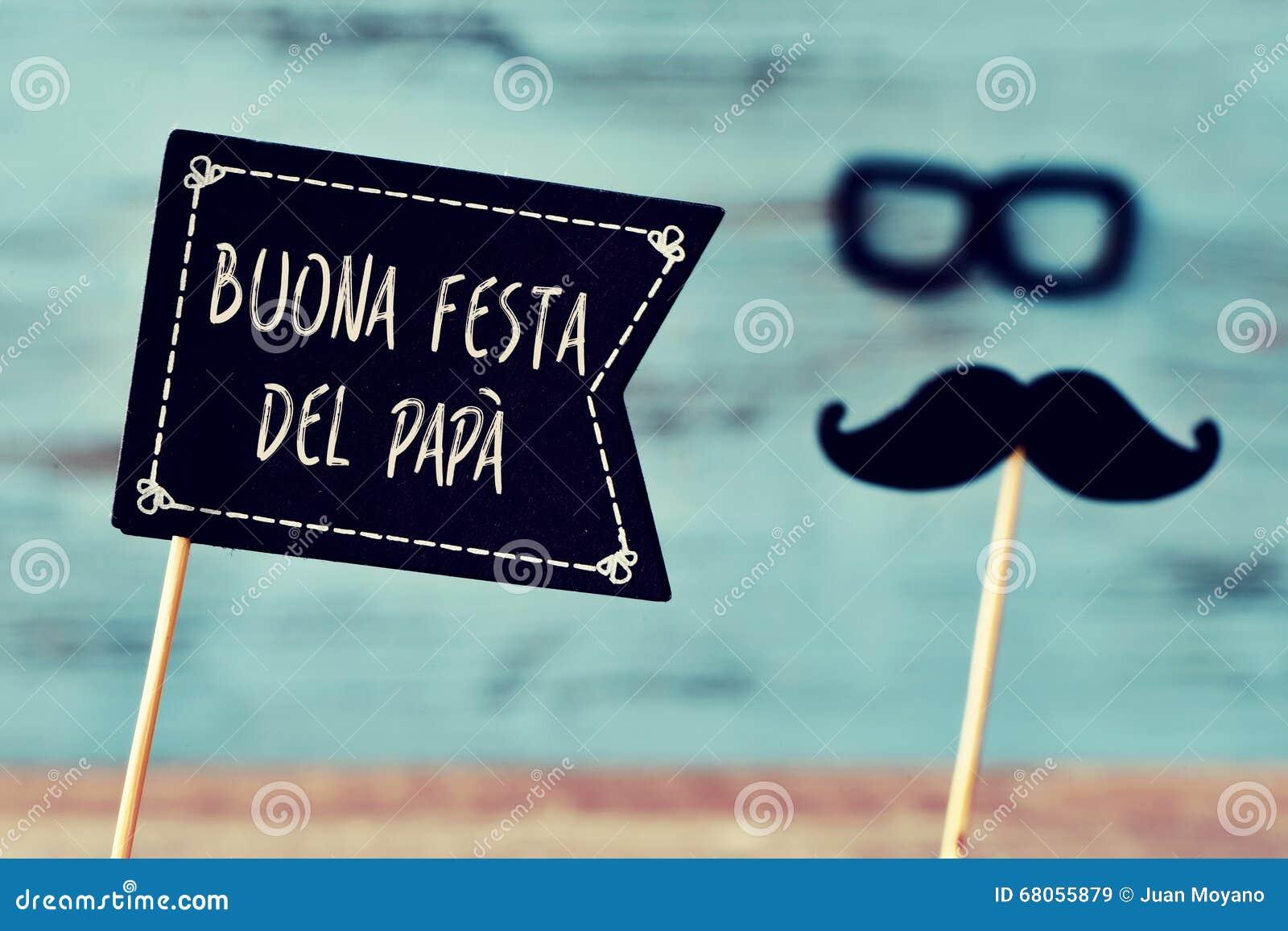Text Buona Festa Del Papa Happy Fathers Day In Italian Stock Image