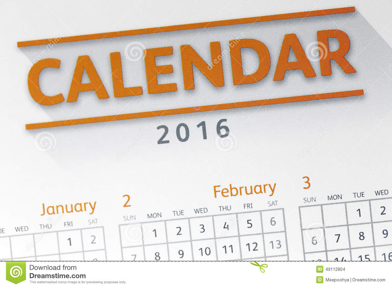 Text On Calendar Show In 2016 Year. Stock Photo - Image of text