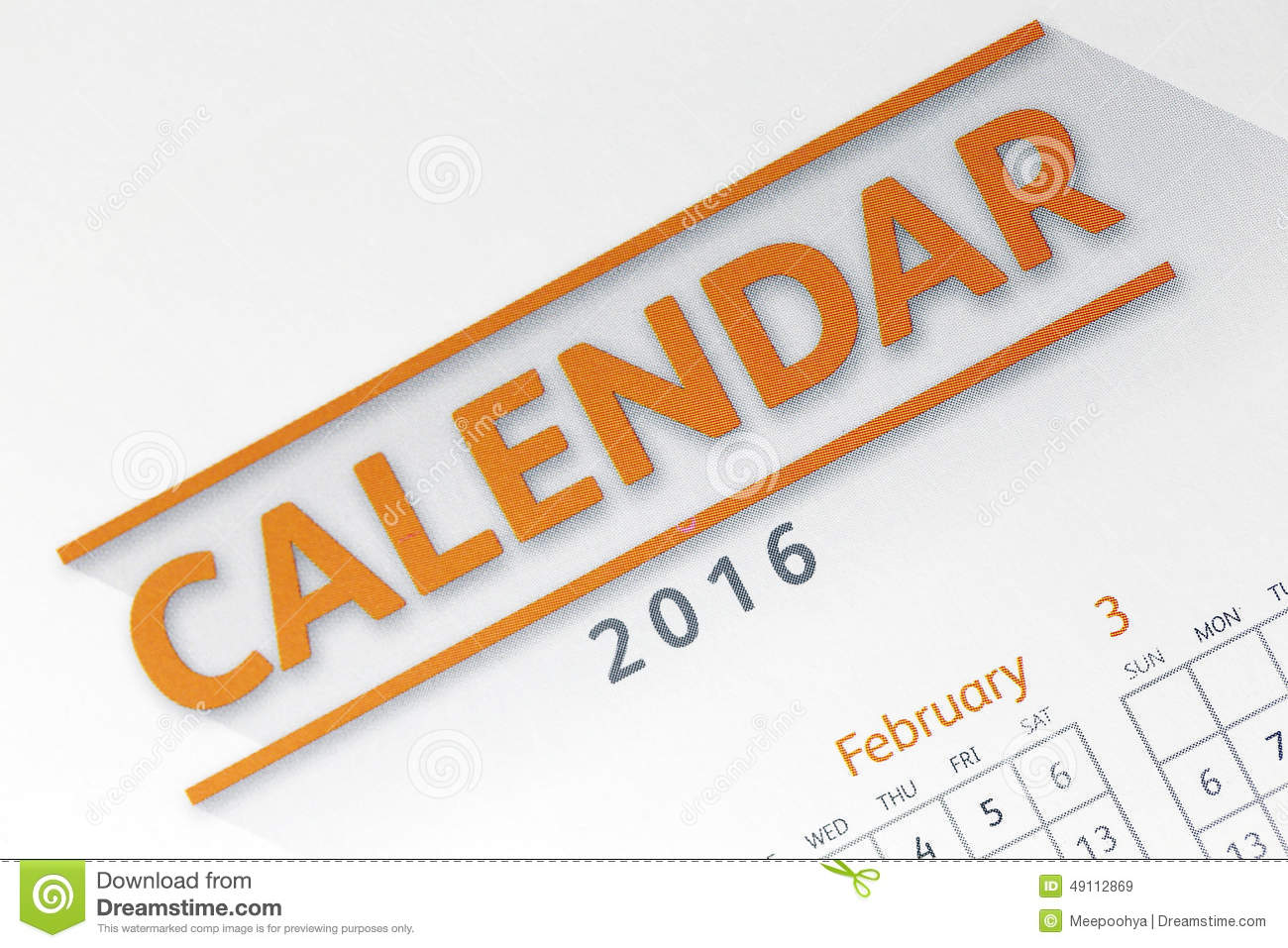 Text On Calendar Show In 2016 Year. Stock Image - Image of date