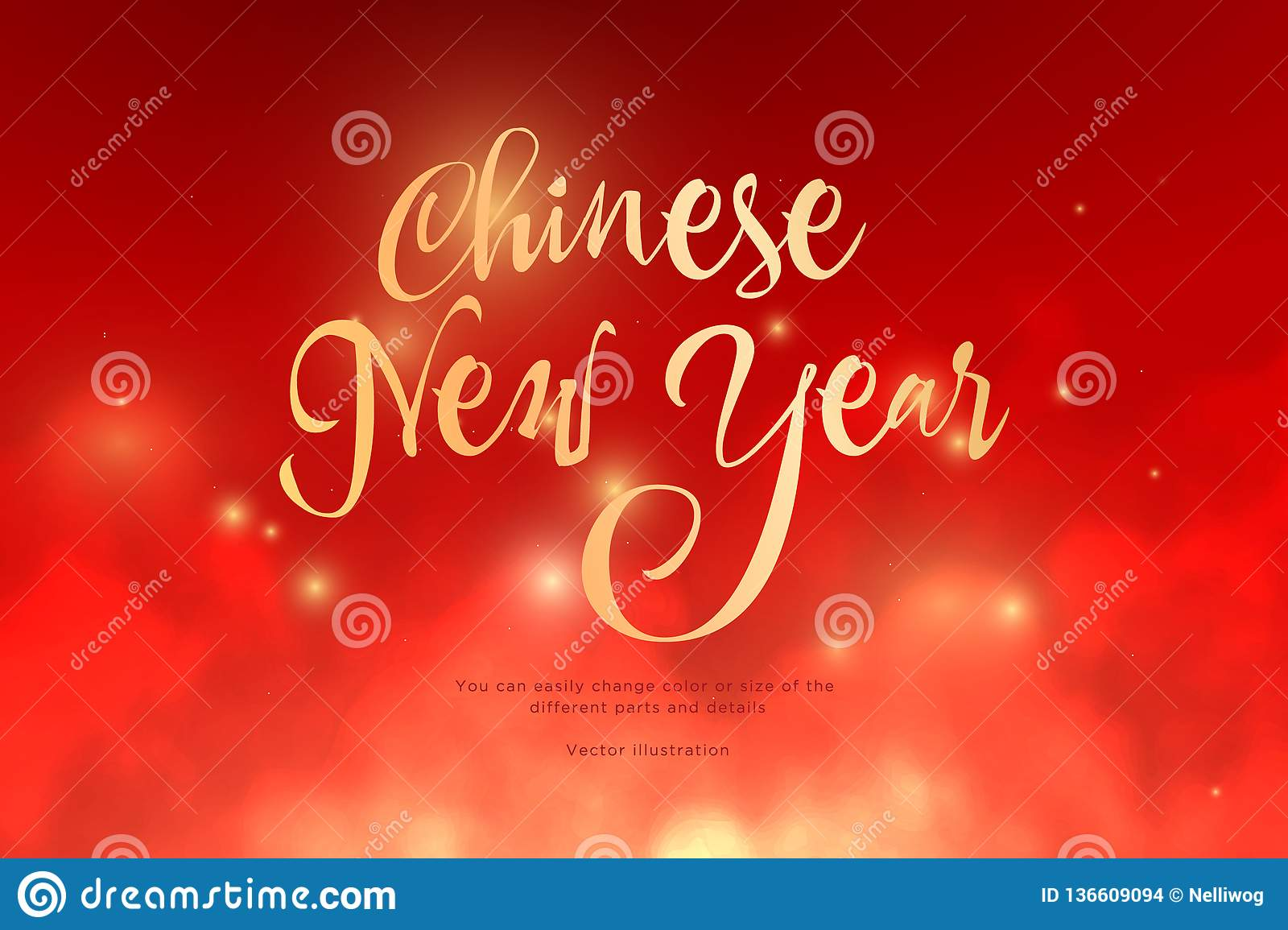 Text Chinese New Year golden color in the clouds.Low poly wireframe art on red background.Concept for holiday or magic or miracle.