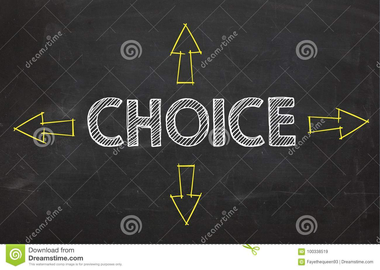 Text `Choice` with four arrow. Choice information concept on blackboard background.