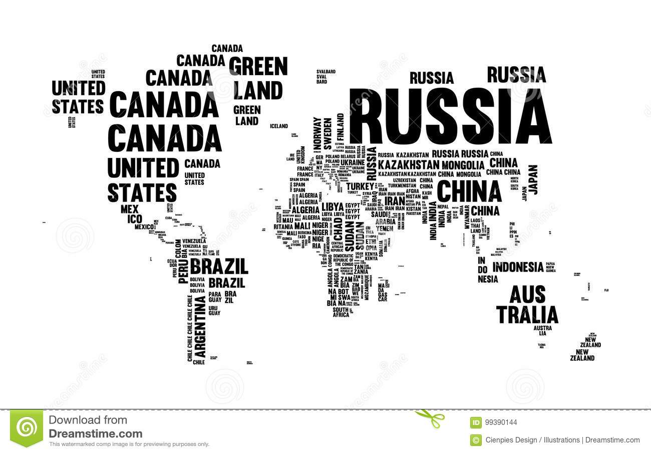 Text Country Name World Map Typography Design Stock Vector ...