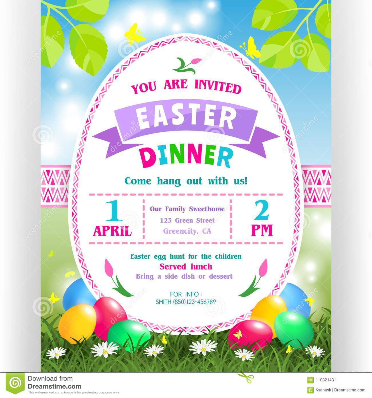 Easter dinner announcing poster template with colorful eggs in grass download easter dinner announcing poster template with colorful eggs in grass and flowers stock vector stopboris Choice Image