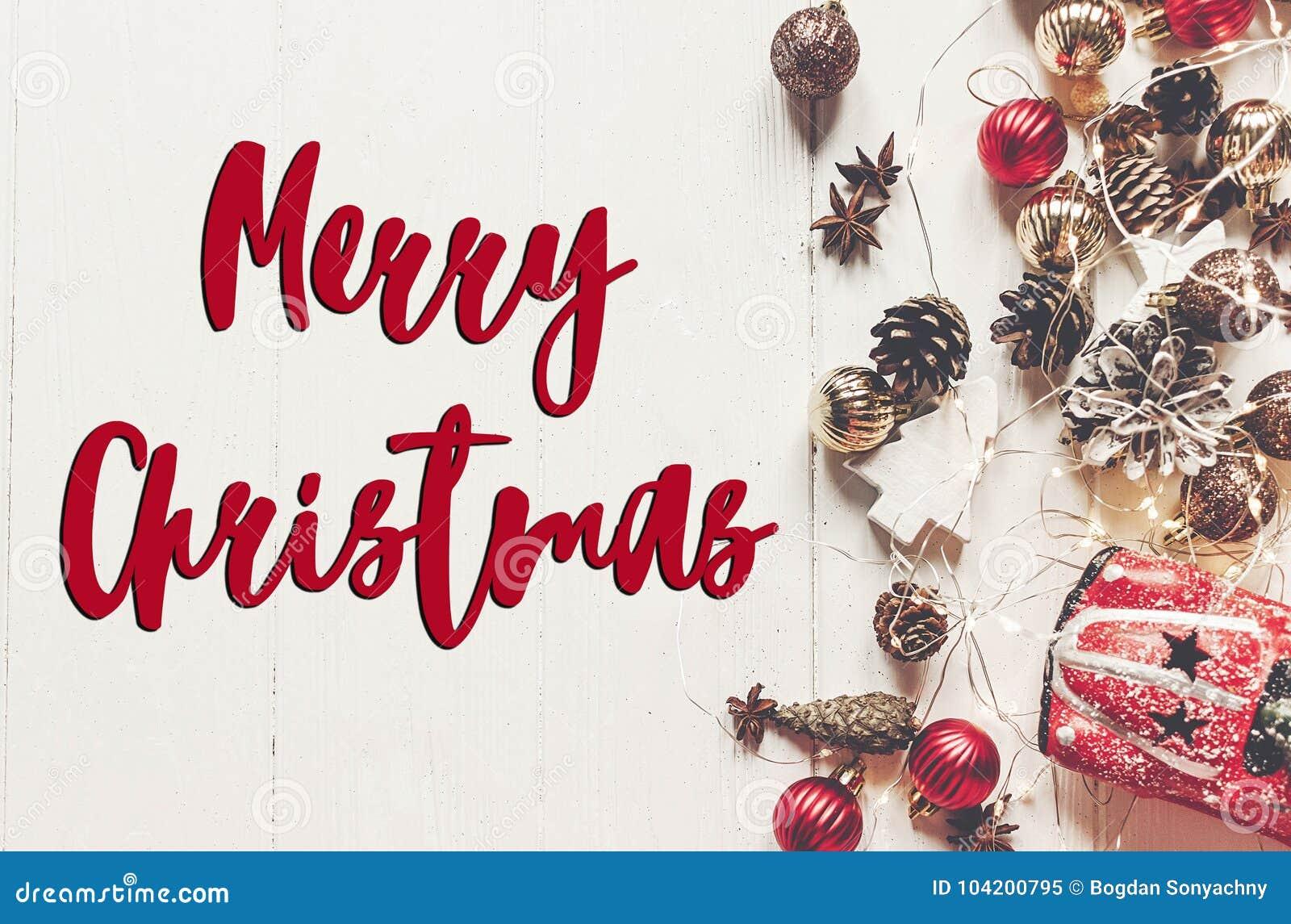 Text der frohen Weihnachten, Saisongrußkartenzeichen Flache Lage MO