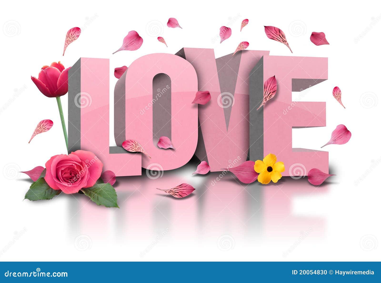 Text der Liebe 3D mit Blumen auf Weiß