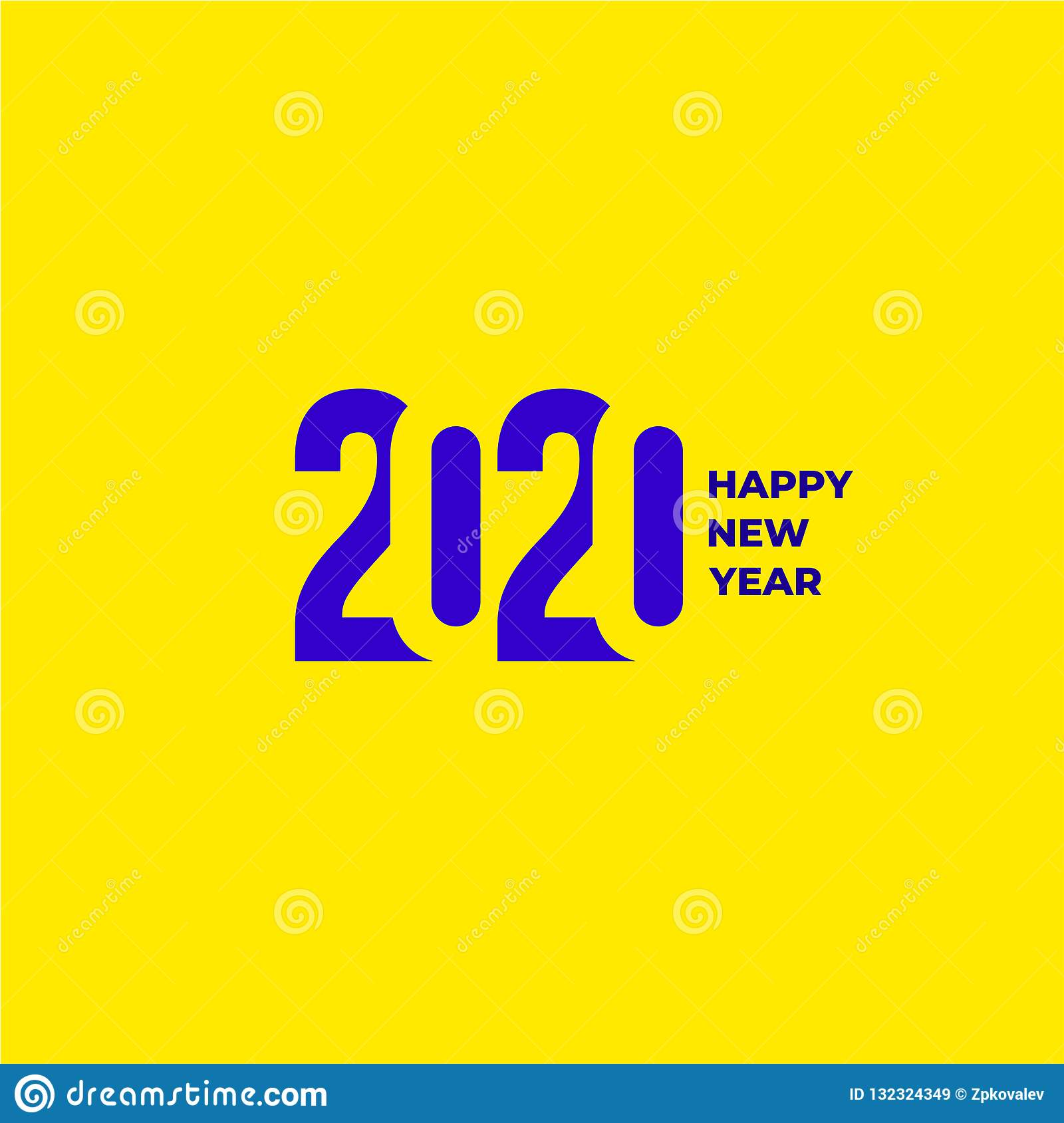 2020 text design pattern. Collection of Happy New Year and happy holidays. Vector illustration. Isolated on yellow background