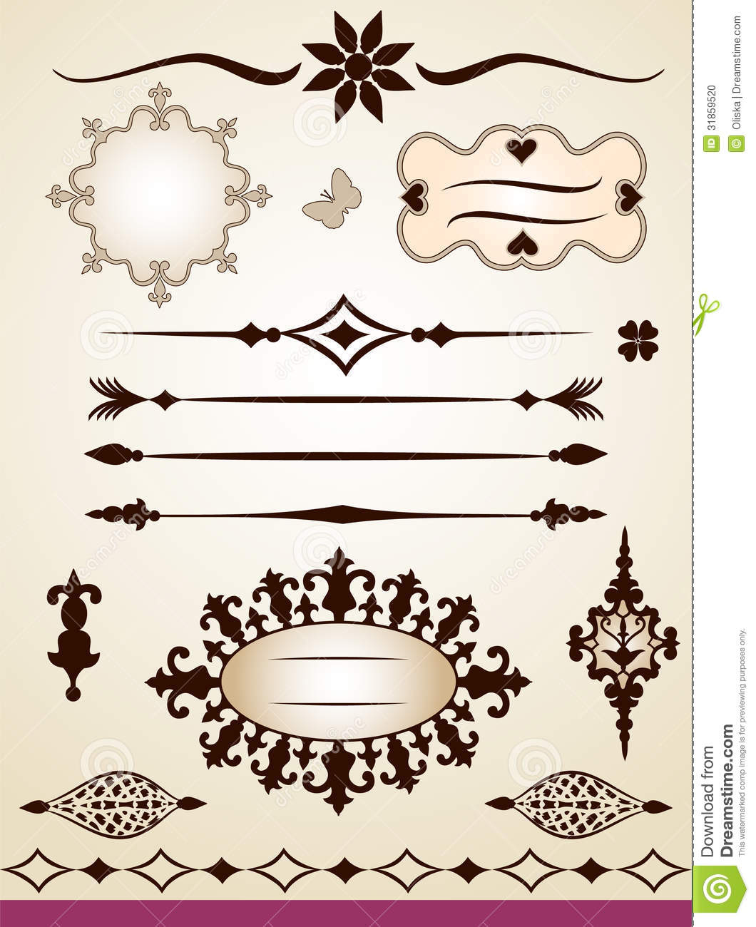Text dividers frames border and decorations stock photo for Decoration page