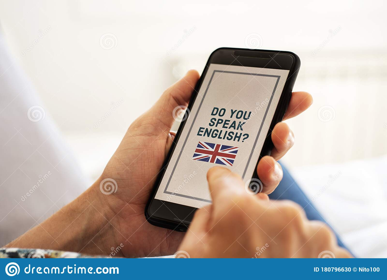 Text Do You Speak German In German In A Smartphone Stock Photo Image Of Home Horizontal 180796630