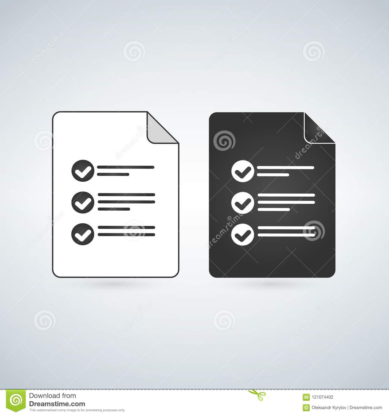 Text Document File Vector Icon With Notes And Checkmark  Flat Sign