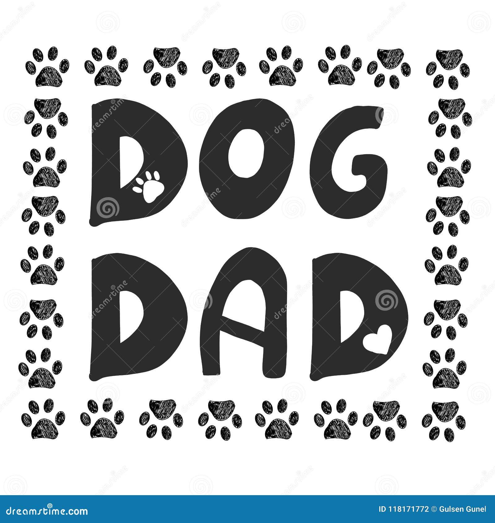 Text för handskrift`` hundfarsa `` Klottersvart tafsar trycket Lyckligt kort för hälsning för dag för fader` s