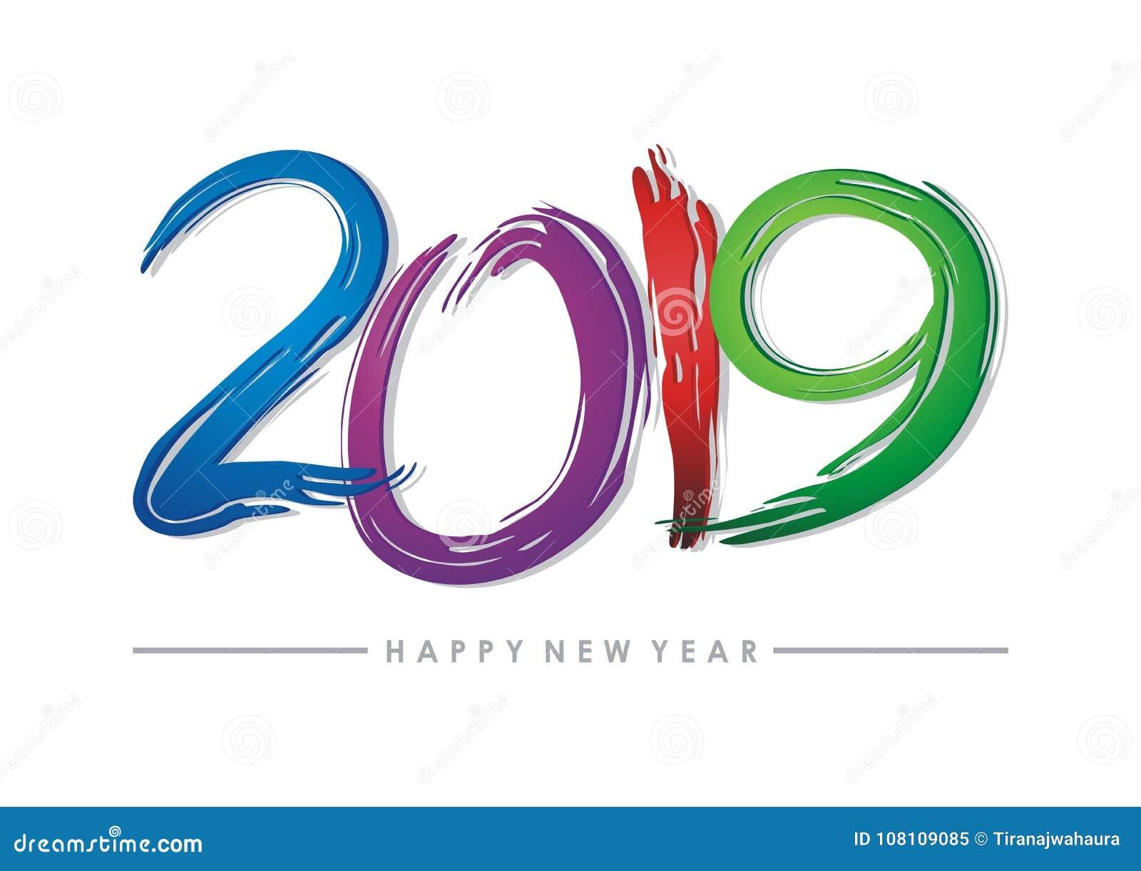 2019 text för lyckligt nytt år - nummerdesign