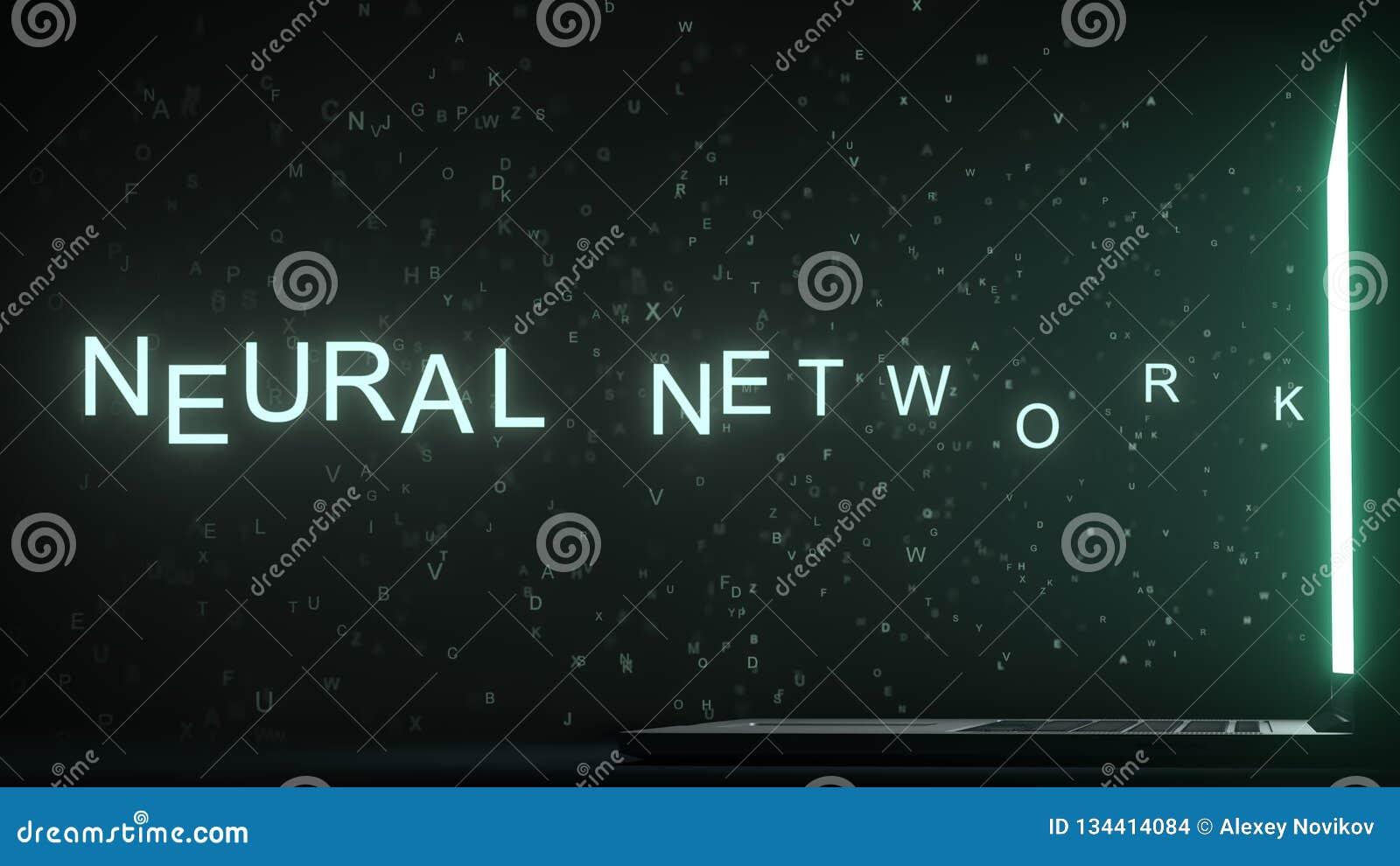 Text för NERV- NÄTVERK som kommer ut nära bärbar datorskärmen begreppsmässigt framförande 3d