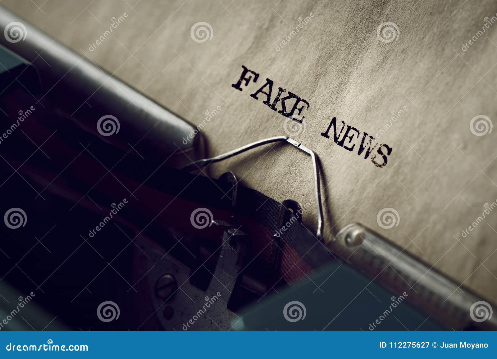 Text fake news written with a typewriter