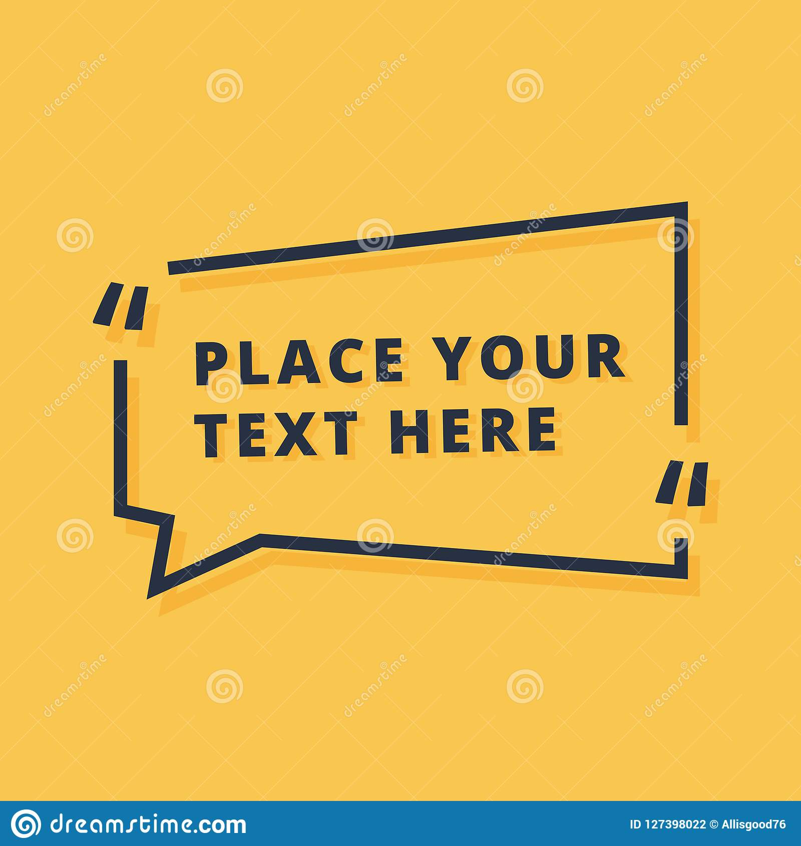 Text frame design vector illustration isolated on yellow background. Dialog icon with placeholder announcement