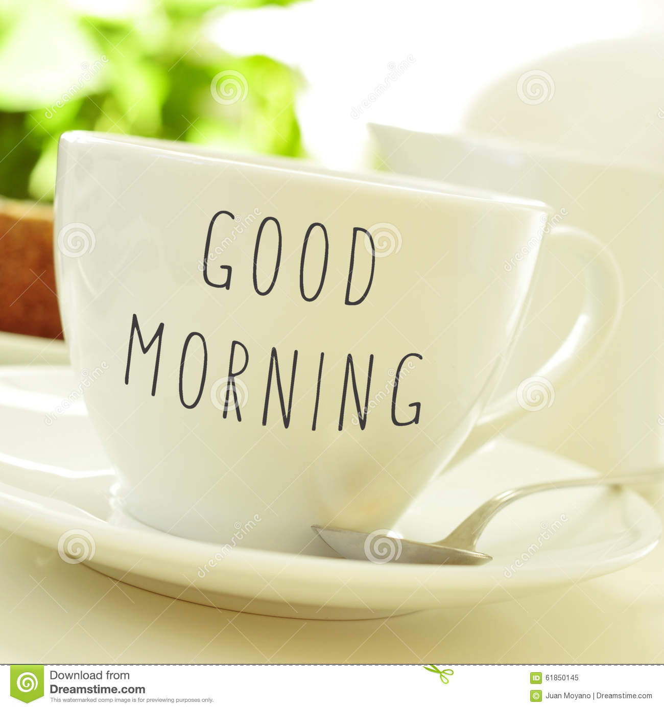 Text Good Morning On A Cup Of Coffee Or Tea Stock Image - Image of ...