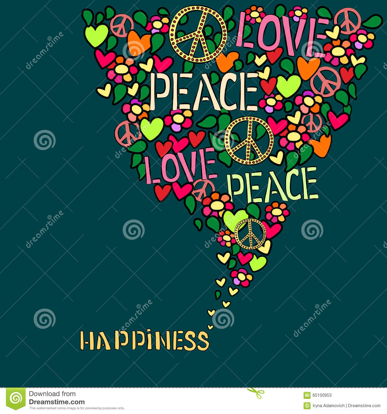 Text happiness love peace and pacifism symbol in colorful collage text happiness love peace and pacifism symbol in colorful collage biocorpaavc Image collections