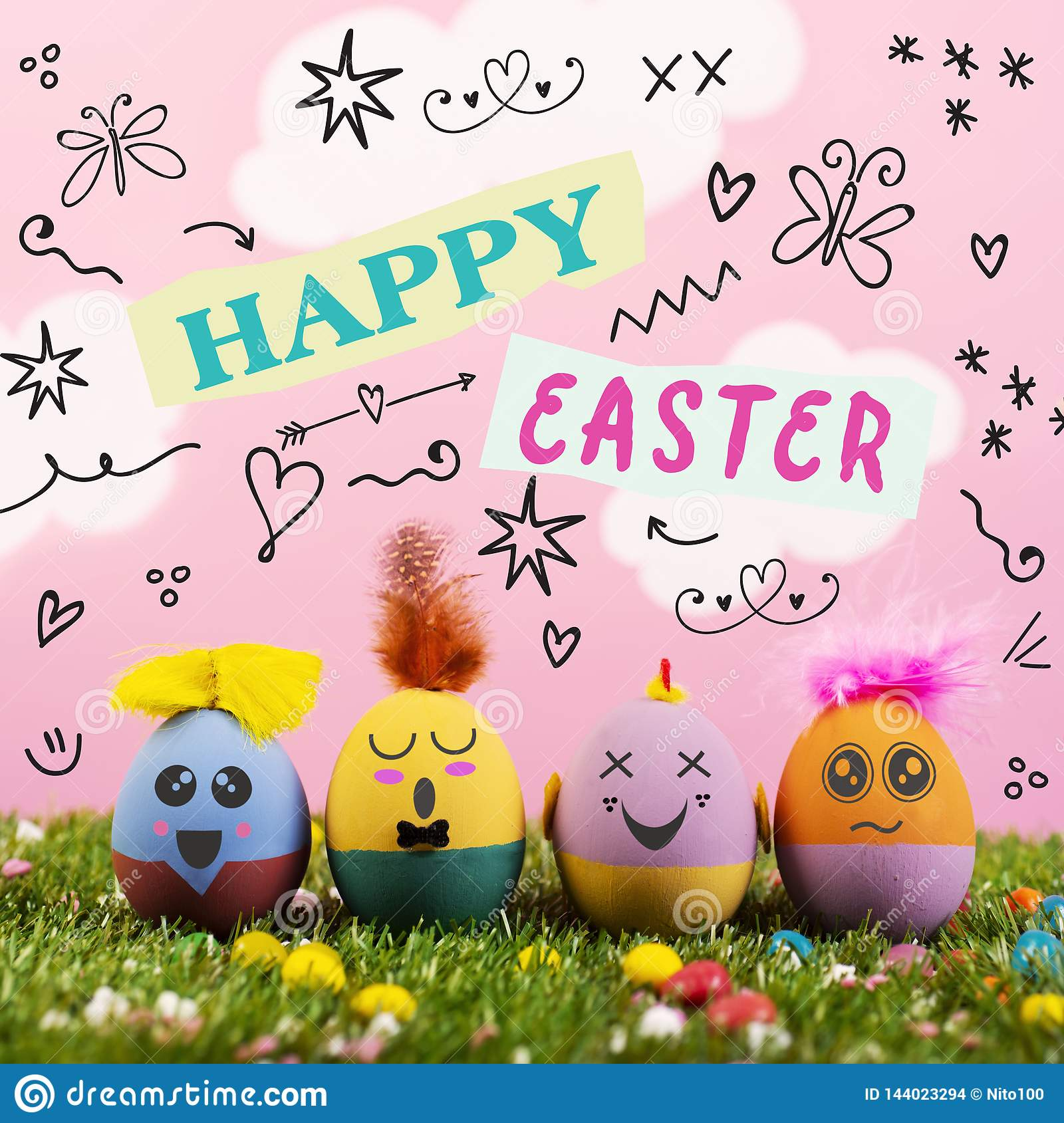 Text happy easter and cute handmade decorated eggs