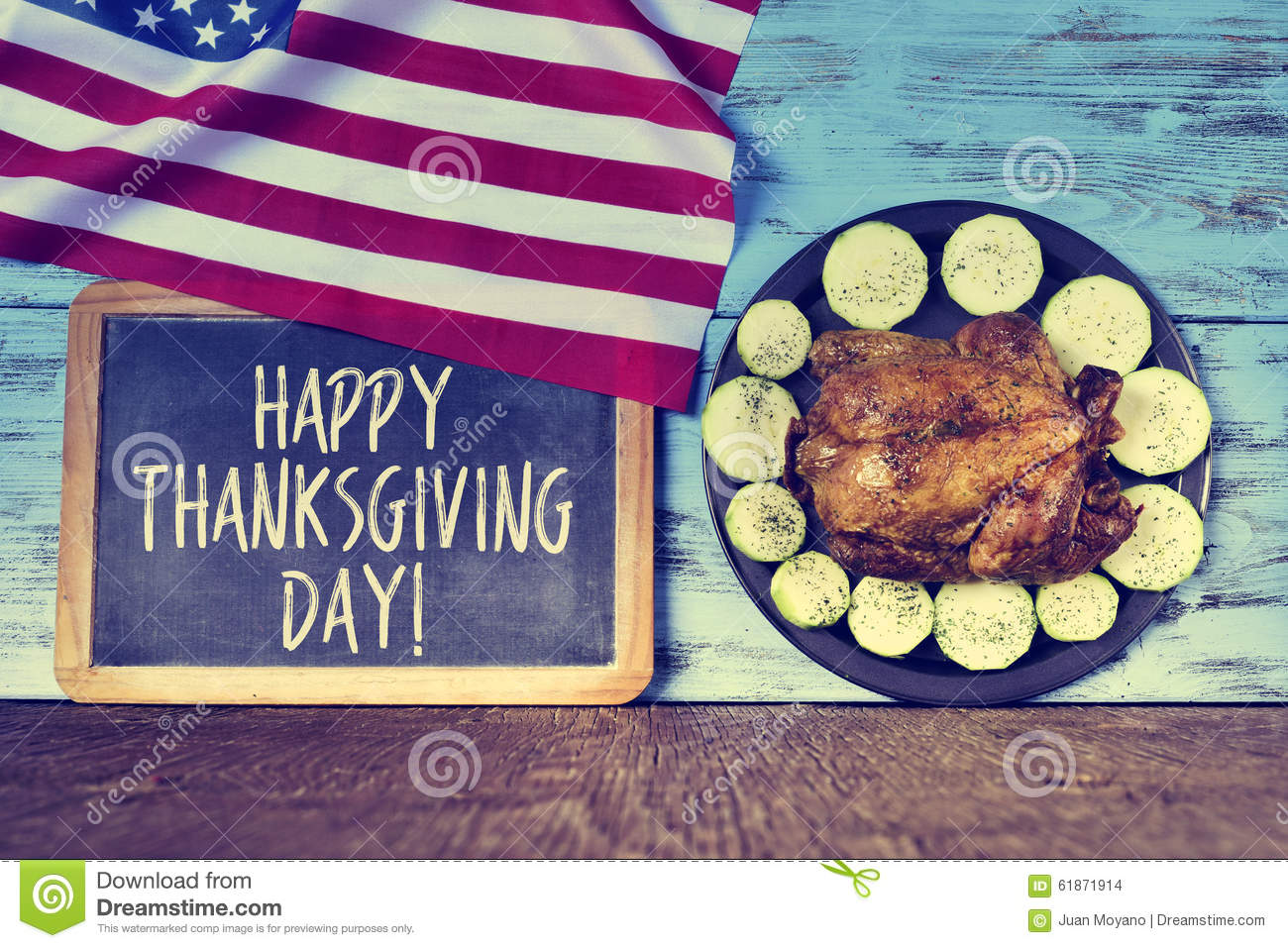 Text happy thanksgiving day and roast turkey