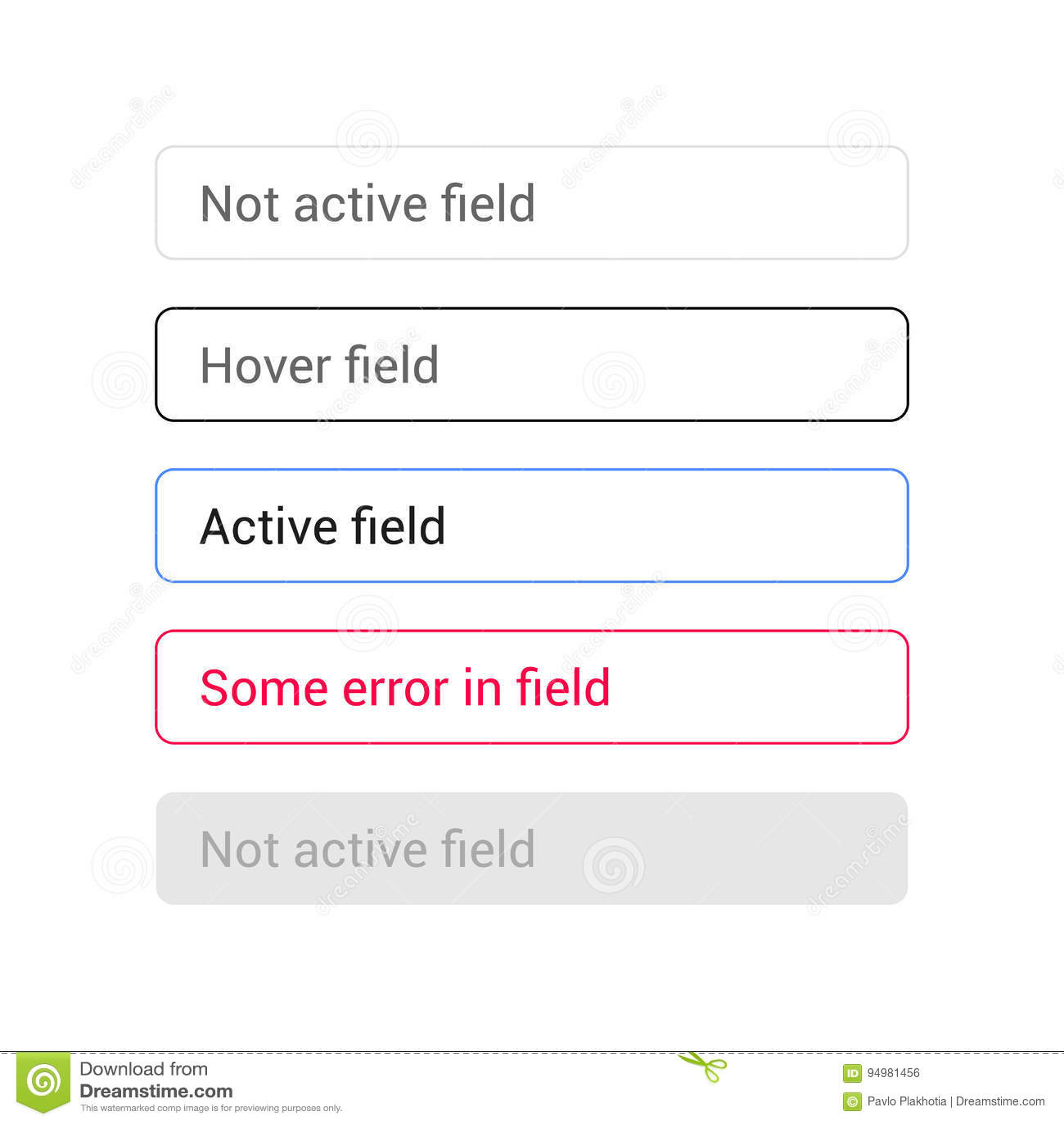 Text Input Vetor Set  States Of Text Fields Stock Vector