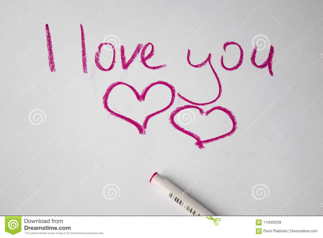 text l love you hand written by colored pen on white paper stock