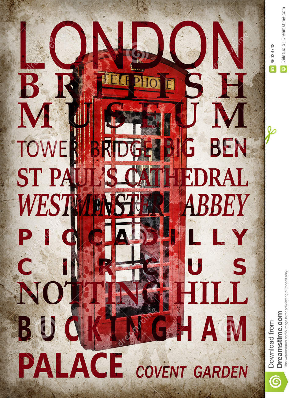 Text with London landmarks on red phone box vintage background