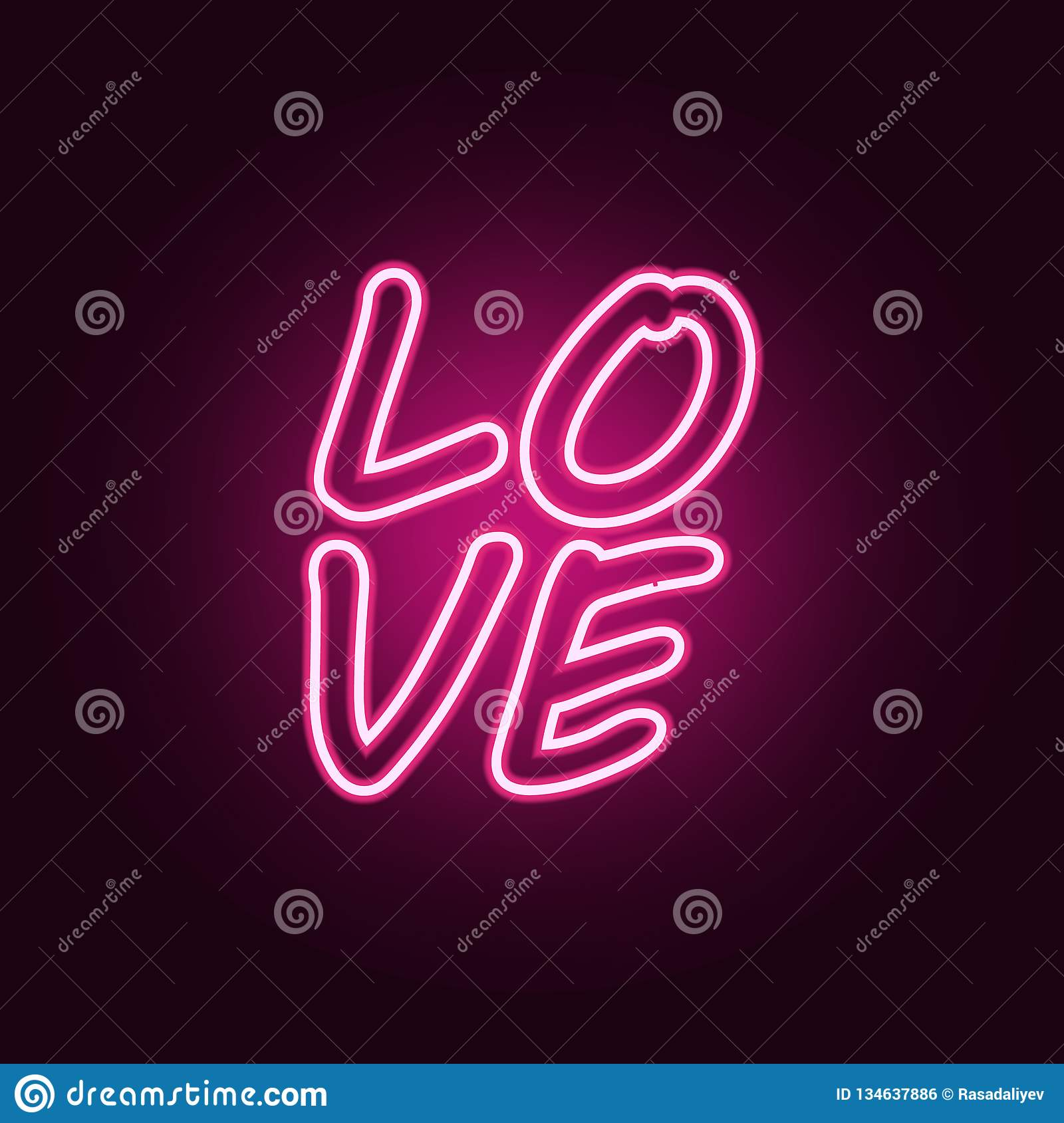 Text Love Icon  Elements Of Valentine In Neon Style Icons