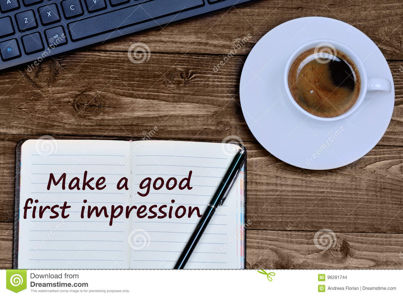 Text Make a good first impression on notebook