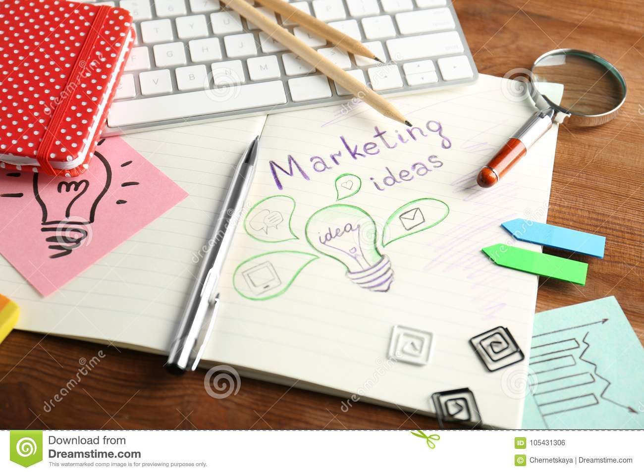 Text Marketing Ideas And Drawing Of Light Bulb Stock Illustration