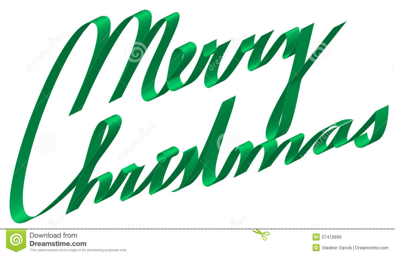 Text Merry Christmas From Ribbon Stock Photo - Image: 27419990
