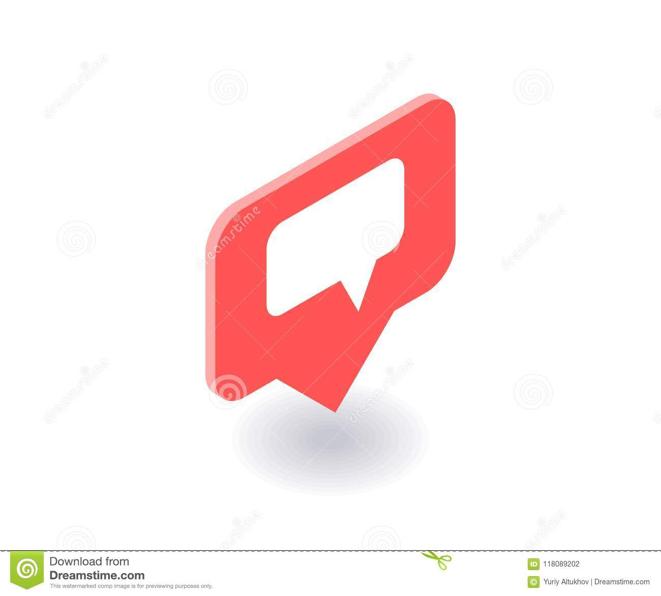 Text Message Icon Vector Symbol In Flat Isometric 3d Style Isolated