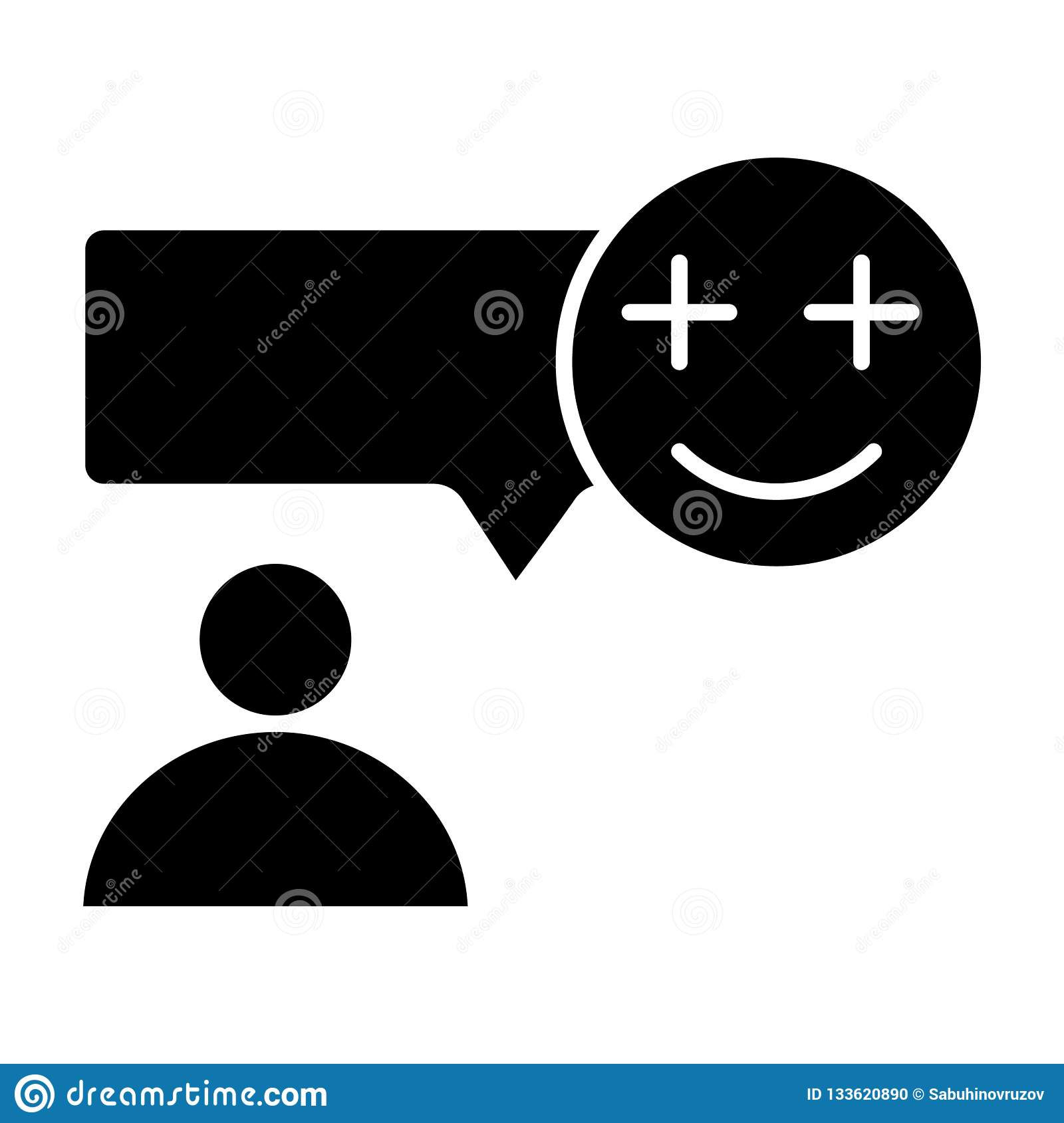 Text Message And Person Solid Icon  Speech Bubble With