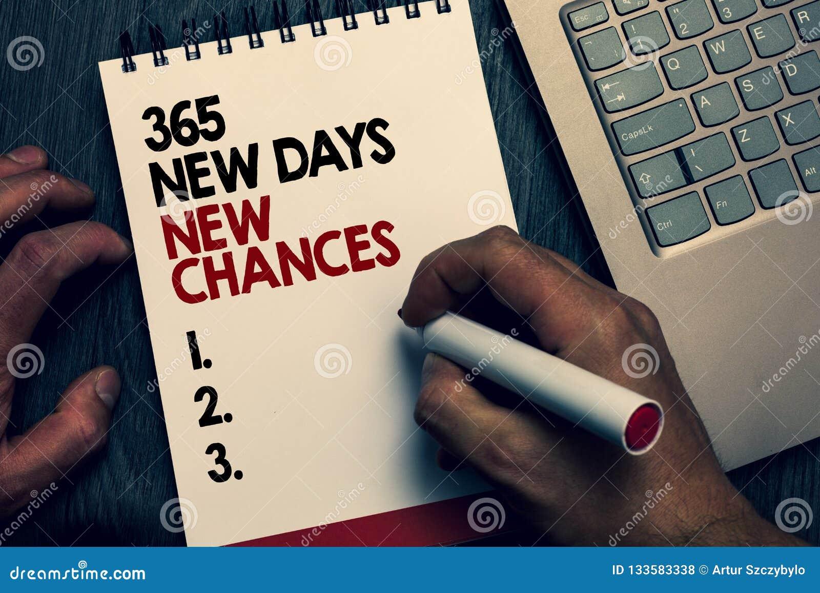 Text o sinal que mostra 365 possibilidades novas dos dias novos Foto conceptual que começa umas outras palavras escritas das opor