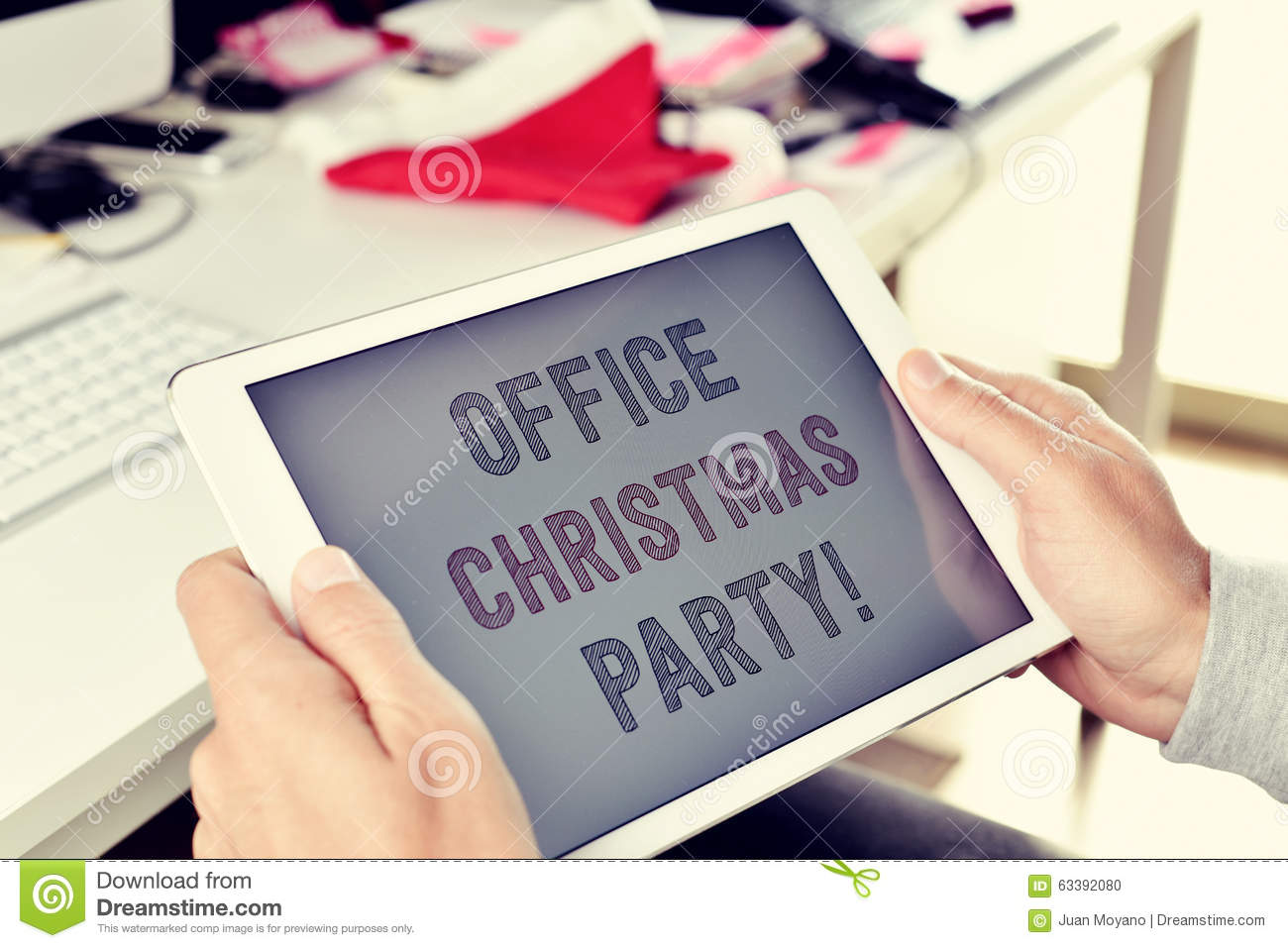 Text Office Christmas Party On A Tablet Stock Photo - Image of ...