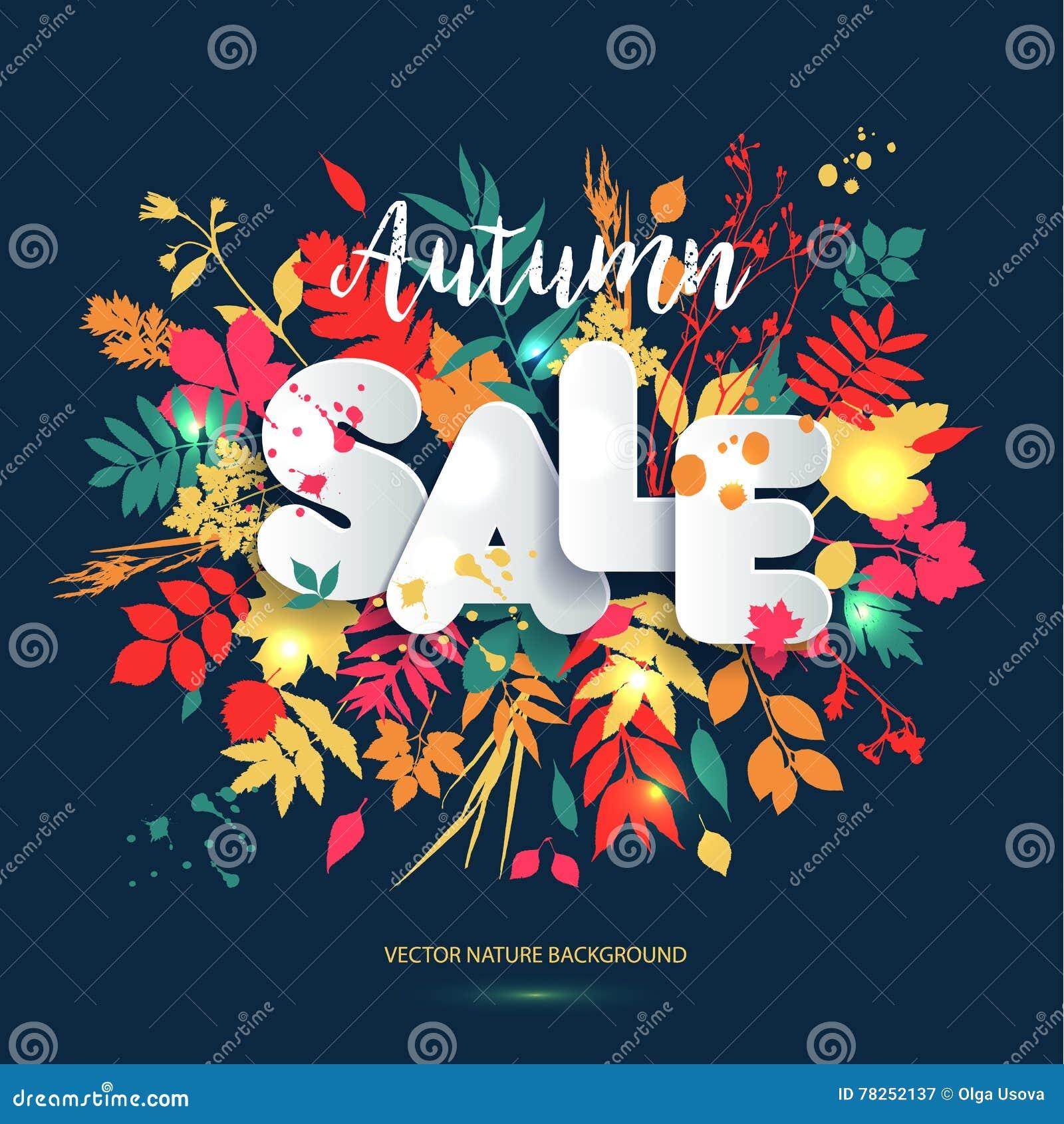 Text Sale i pappers- stil på flerfärgad bakgrund med hösten le