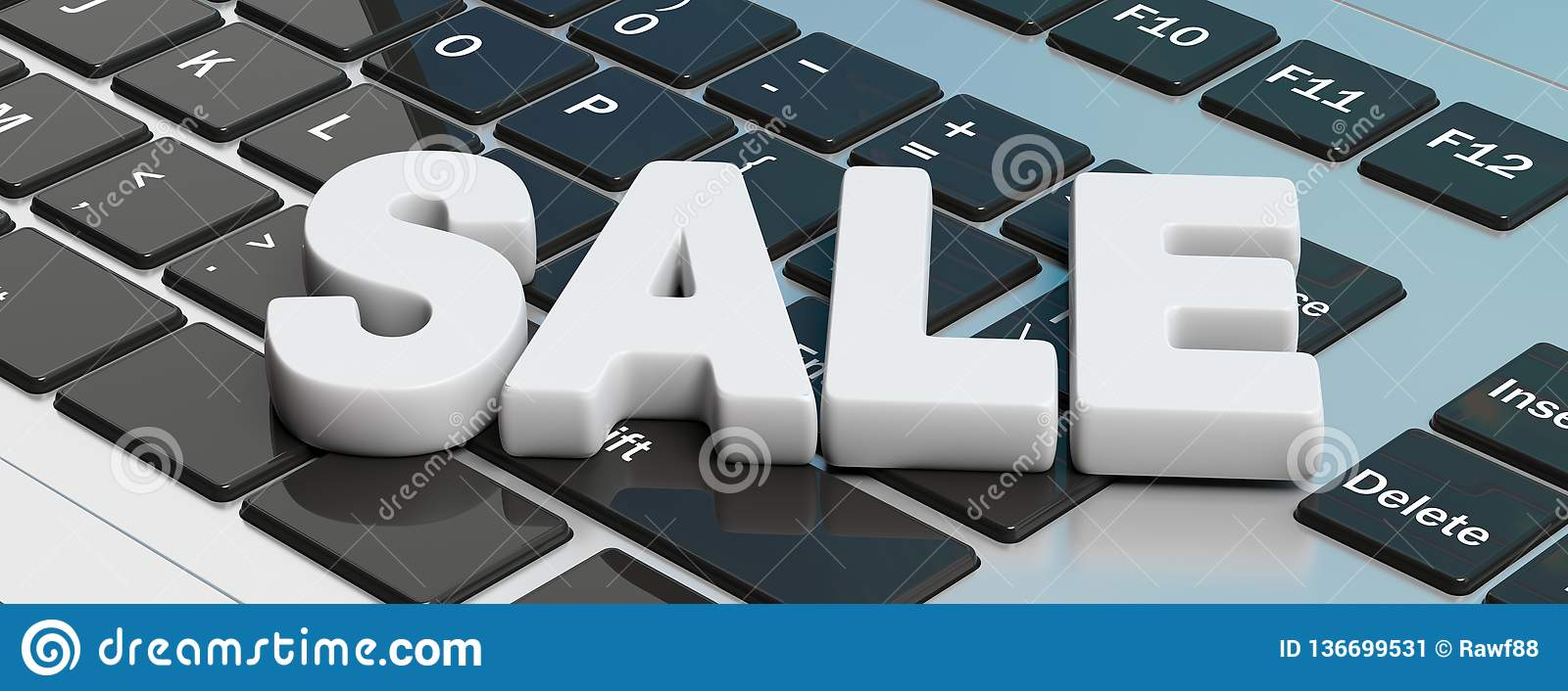 Text Sale Letters On A Computer Laptop Keyboard Banner 3d Illustration Stock Illustration Illustration Of Design Electronic 136699531