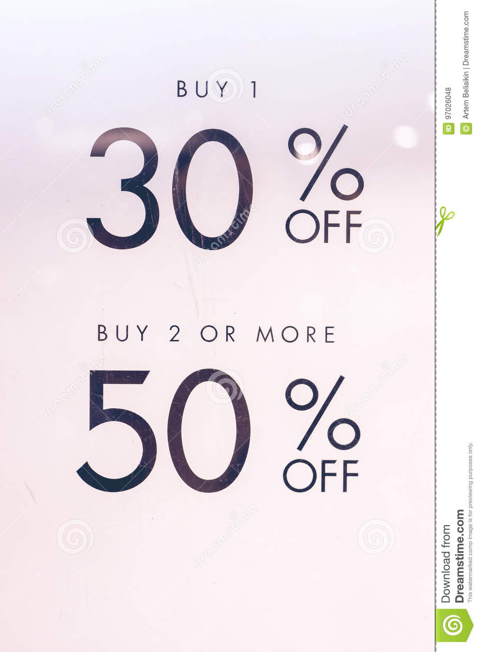 Text Sale 30 And 50 Off On The White Paper In The Shopping