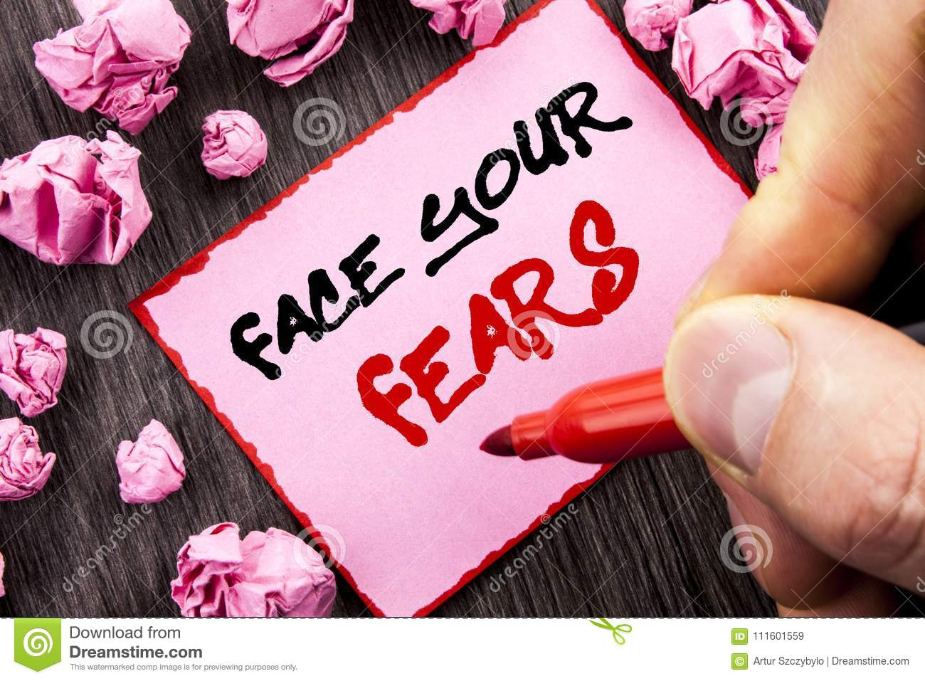 Text sign Face Your Fears. Business concept for Challenge Fear Fourage Confidence Brave Bravery written Pin Sticky Note Paper Fol