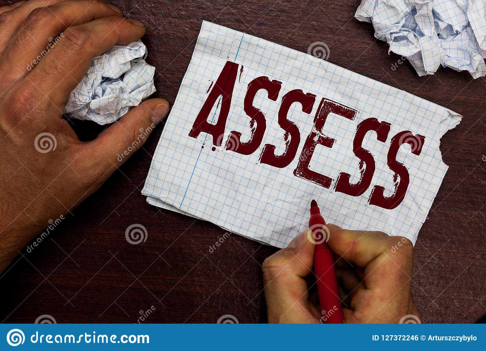 Text sign showing Assess. Conceptual photo evaluate or estimate the nature ability quality of product Service Man