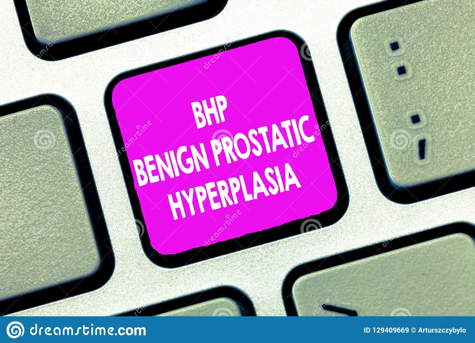 Text sign showing Bhp Benign Prostatic Hyperplasia. Conceptual photo Noncancerous prostate gland enlargement
